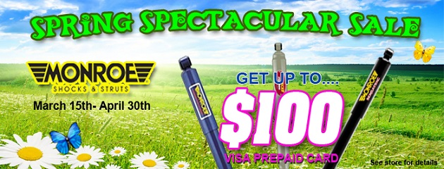 Spring Spectacular Sale. Get a prepaid Card up to $100 on Monroe Shocks!