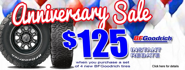 Anniversary Sale. $125 Instant Rebate on a set of four BFGoodrich Tires!