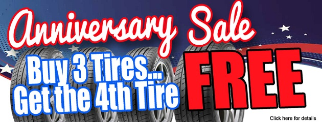 Anniversary Sale. Buy 3 Tires... Get the 4th Tire FREE!